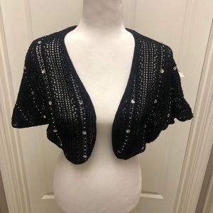 INC black knit shrug with embellishments